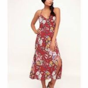 NWT Rust Off White Floral Dress W/Slit